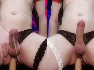flawless trap gets Anal orgasm riding a dildo 4k ( sissy femboy milking )