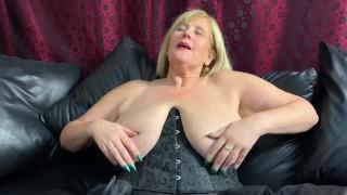 Big Tit, Mature Slut pounds her Wet Pussy with Thick, Black Dildo