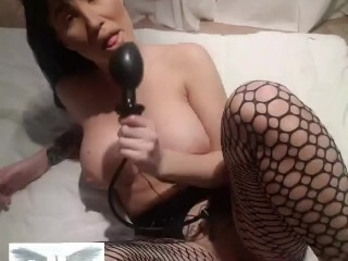 SUPER HORNY MILF plays with dildos in her big ass in bedroom