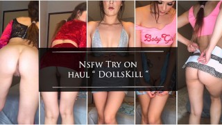 Slutty clothes try on haul pussy tease