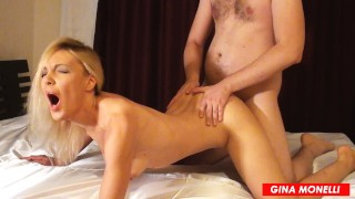 BLONDE MILF FUCKED IN ASS AND CUM ON FACE. DIRTY TALK