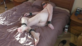 Slave girl cuffed and had to cum crossed leg