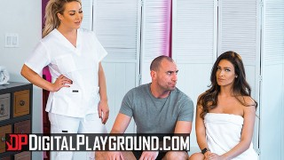 Screen Capture of Video Titled: Digital Playground - Two hot babes Katana & Amber share a big cock