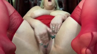 Mature Slut plays with her Big Natural Tits and Fingers her wet Pussy