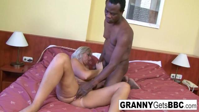 Busty bikini granny sucks and fucks the black cock!