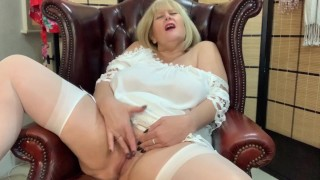 Filthy Mature Step Mom enjoys Coffee and fingering and parting her Pussy lips