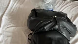 Orgasm vibrator. Latex catsuit. Bondage