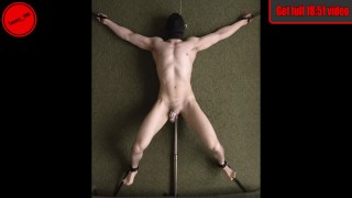 Edging in Chastity Tied Down - Prostate Vibrator - Straight Guy Anal Probe