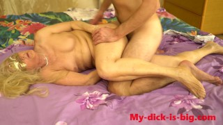 Horny boy fucked his step mom. 70 year old.