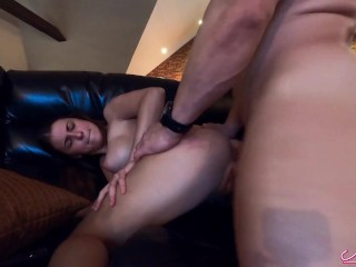 Busty Babe Suck my Cock and Hard Pussy Fuck - Cum Mouth after Watching TV