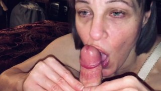 POV Mature Milf love's sucking the cum out