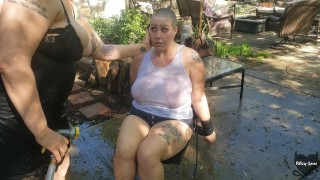 BDSM By Castratta, Her Head is Shaved and She Gets the Hose