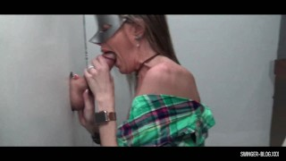 Two hot MILFs giving gloryhole blowjobs on live cam