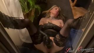Slut-Orgasma Celeste behind the window throating a dildo and masturbating 2