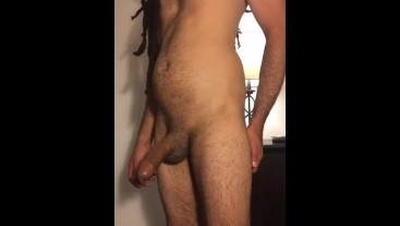 Hairy guy strokes his big cock until he cums
