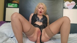 HOT MOMMY RIDES A DILDO WITH AN ANAL PLUG IN THE ASS CUMS AND SQUIRTS