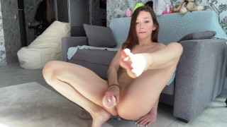 Petite Asian girl fucking her tight pussy