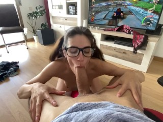 Blowjob while playing PS4