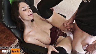 BITCH FUCKED WITH HER BOY. SEX WITH A TALL GIRL. BLOWJOB AND CUM ON FACE.