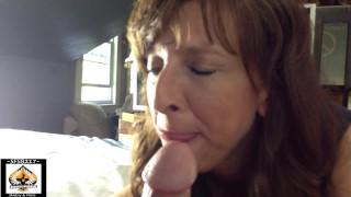 Sexy Granny Big Cock BJ Cum Bubble Mouth