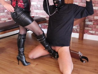 amateur balls kicking and trampling sissy chastity cock cage slave bound and humiliated