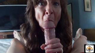 Sexy Granny POV Blowjob Shows Cum Mouth