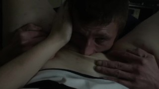 Daddy got off work and dived straight in to eating pussy