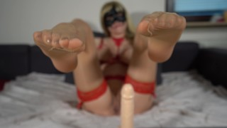 jerk of instruction - Jerk your cock to my nylon feet and cum all over them
