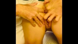 Gently stretching sluts butthole open little by little