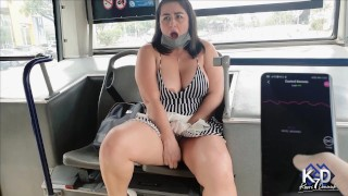 Stranger controls my vibrator till I squirt on the bus+then steals my thong