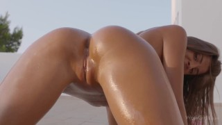 WOWGIRLS Melena Maria beautiful masturbation on a roof in Ibiza. HOT!