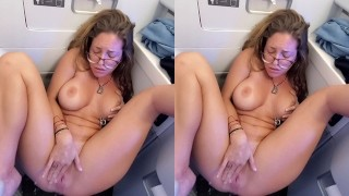 Public squirting in an airplane bathroom INSANE!!