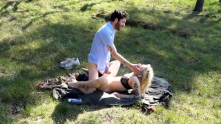 Screen Capture of Video Titled: Fan request! Outdoor nude, fucking, pussylicking, cumshot in the forest