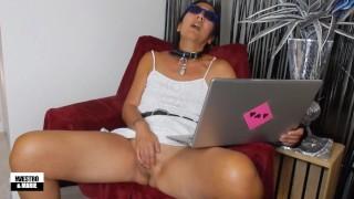Amateur Asian MILF masturbates watching porn