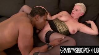 Granny Vs BBC - Short Haired Grandma DD Enjoys Her Lovers Thick Dark Dong