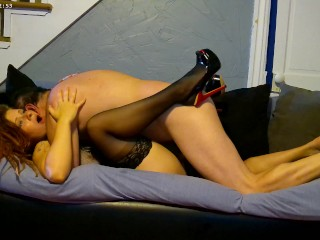 Shes So Sexy I couldnt Resist. High heels and Stockings Couch Fuck