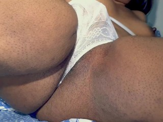 Ebony milf finishes squirting with panties on while rub her pussy