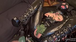 Slut-Orgasma Celeste in latex nettle torture and sex machine fucked