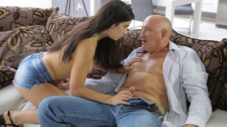 OLD4K. Pretty nice lassie enjoys ass-fucking with old man at Ibiza