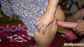 Real orgasm of latina milf with dildo in her ass. Leg contractions.