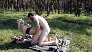 Screen Capture of Video Titled: Fucking in the forest - we got caught! Uncut version