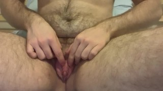 Guy with Pussy Penetrates Himself