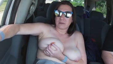 Out for a drive,might as well get my tits out!
