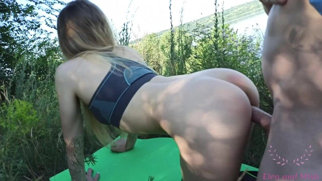 SMALL RUSSIAN TEEN WITH BIG ASS FUCKED IN YOGA PANTS. QUIET PUBLIC FOREST COUPLE SEX NEAR CAMPSITE