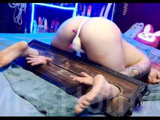Submissive Girl Get Lovense Lush Toy Control With Pillory + Dildo.