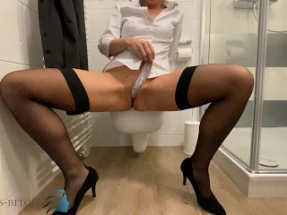 business slut stripping after work and stuffing her panties in her wet pussy