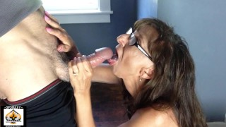 Hot Granny Sucks Cum From BWC Swallows