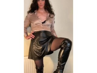 Sexy Shemale stroking her satin shirt  and cock in pantyhose tease