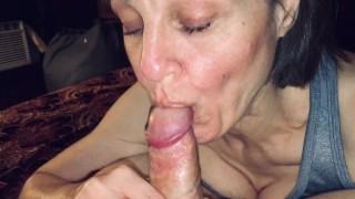 Mature Milf sucks his cock dry and enjoys cum