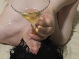 Mistress Bubble pissing to her piss slave mouth with funnel